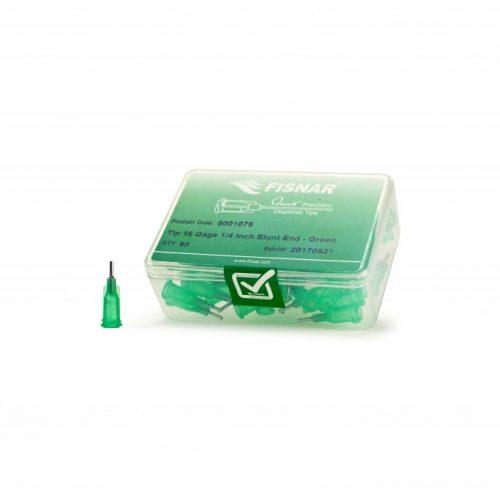 """Fisnar 18ga Green 1/4"""" Blunt End Tip - 50 Pack"""