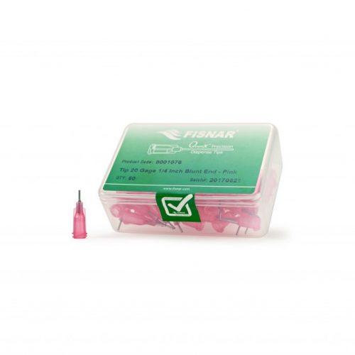 """Fisnar 20ga Pink 1/4"""" Blunt End Tip - 50 Pack"""