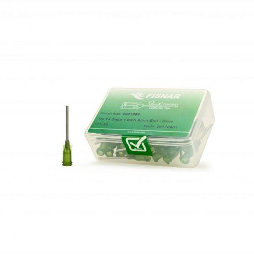 """Fisnar 14ga Olive 1"""" Blunt End Tip - 50 Pack"""