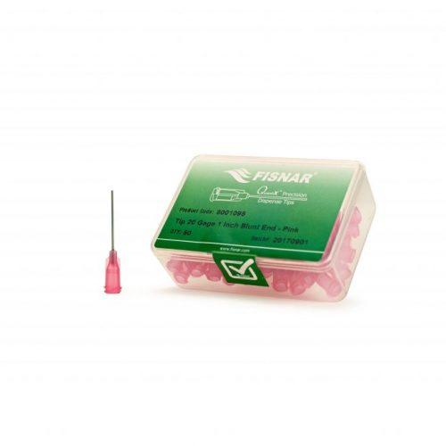 """Fisnar 20ga Pink 1"""" Blunt End Tip - 50 Pack"""