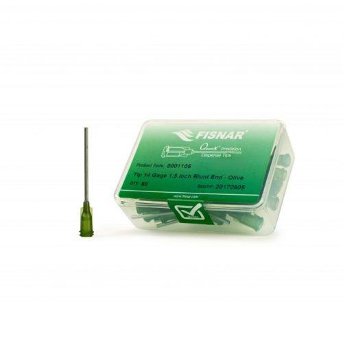 """Fisnar 14ga Olive 1.5"""" Blunt End Tip - 50 Pack"""