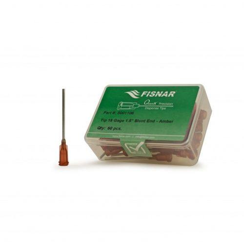 """Fisnar 15ga Amber 1.5"""" Blunt End Tip - 50 Pack"""