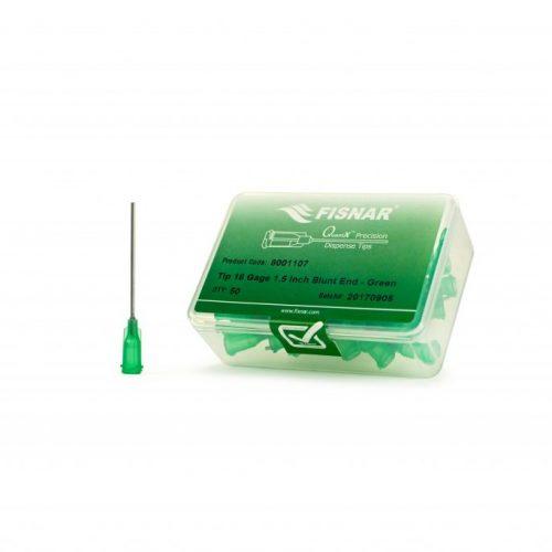 """Fisnar 18ga Green 1.5"""" Blunt End Tip - 50 Pack"""