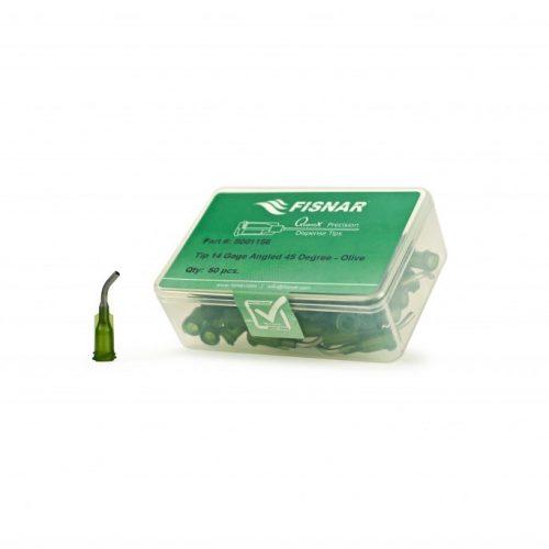"""Fisnar 14ga Olive 0.5"""" 45 Blunt End Tip - 50 Pack"""