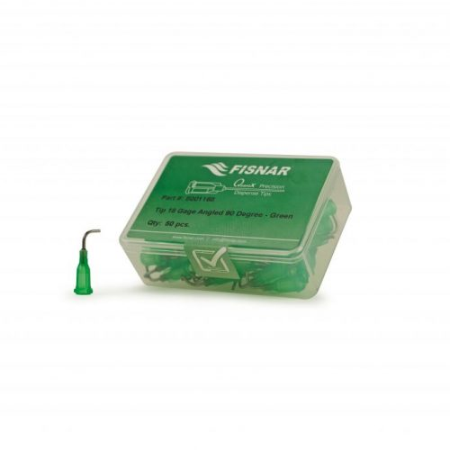 """Fisnar 18ga Green 0.5"""" 90 Blunt End Tip - 50 Pack"""