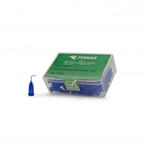 """Fisnar 22ga Blue 0.5"""" 90 Blunt End Tip - 50 Pack"""
