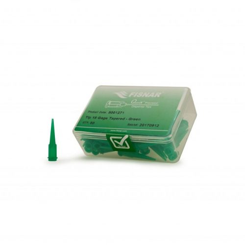 """Fisnar 18ga Green 0.033"""" I.D. Tapered Tip - 50 Pack"""