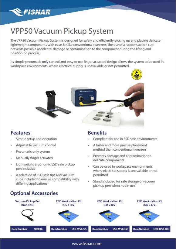Fisnar VPP50 Vacuum Pickup System Data Sheet