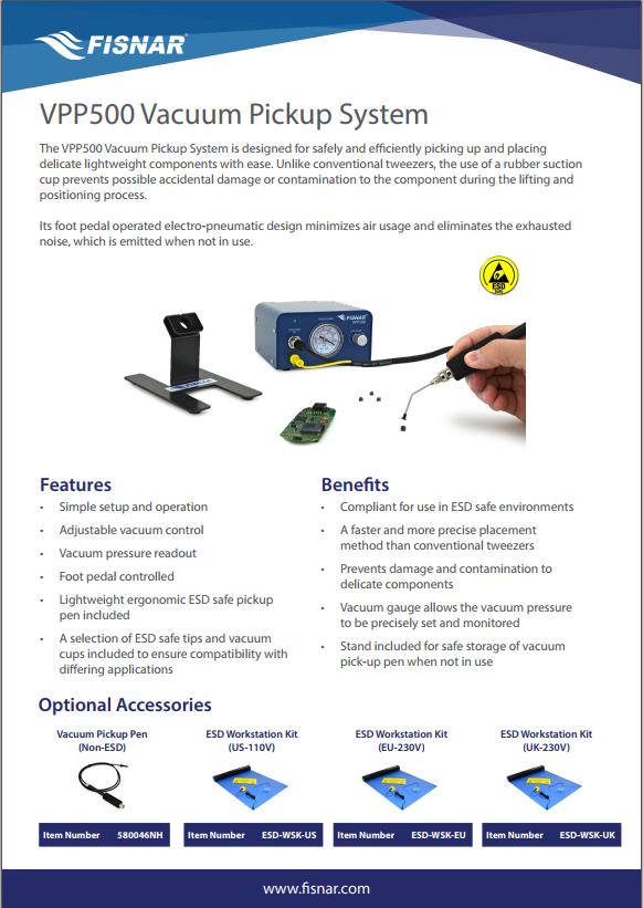 Fisnar VPP500 Vacuum Pickup System Data Sheet